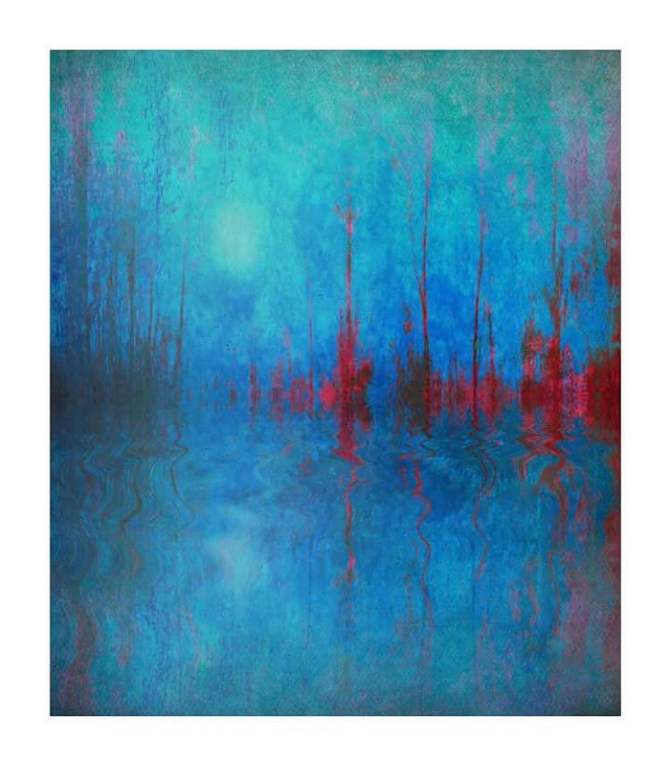 Pulse. An abstract image in blues and reds by featured artist, Celia Anahin