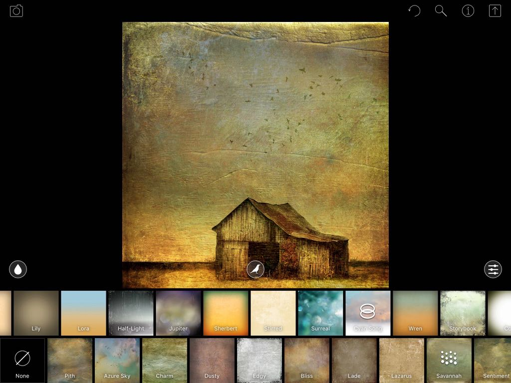 A screenshot showing additional effects being added after flattening an image in DistressedFX (iPad version)