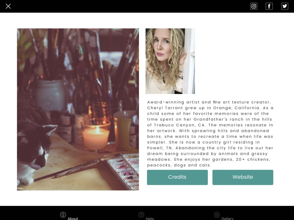 Screenshot showing the app designer's author's biography page in DistressedFX (iPad version)