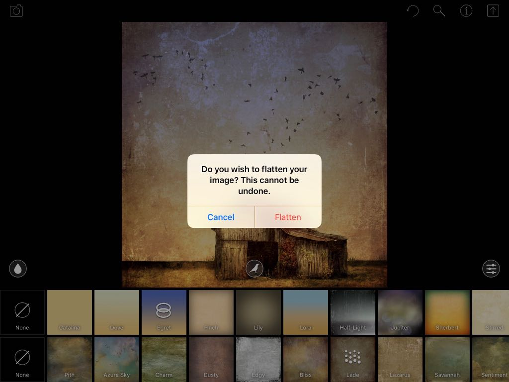 A screenshot showing the warning dialog about flattening an image in DistressedFX (iPad version)