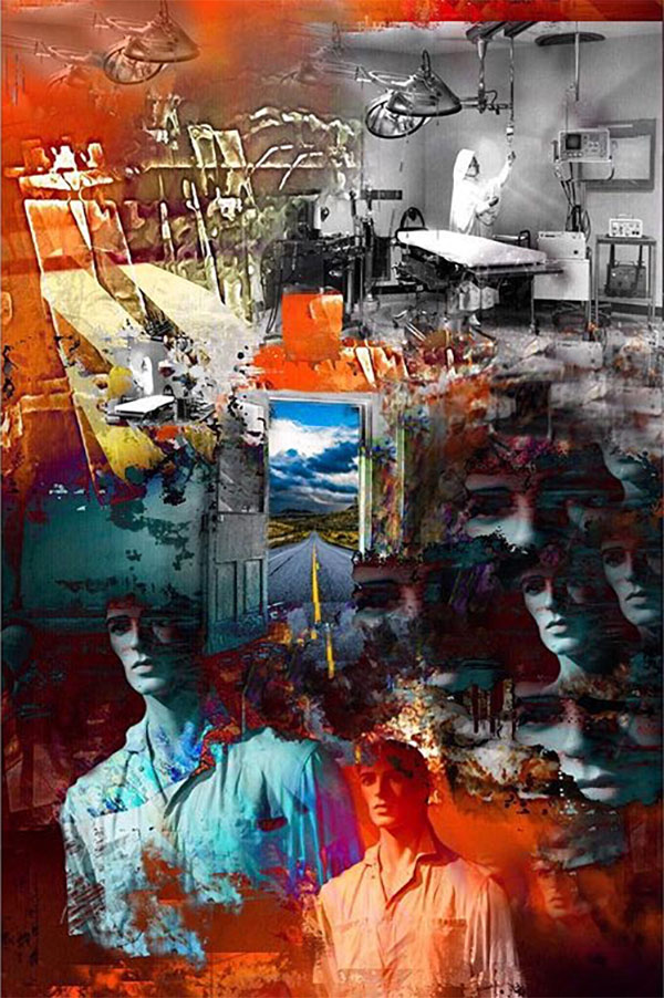 A surreal collage by featured artist, Mike Goebel