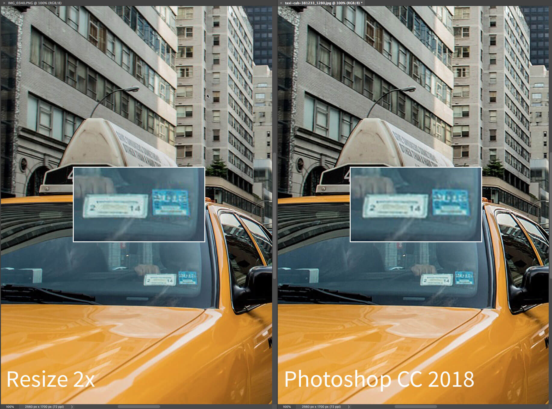 An image showing a side by side quality comparison between Resize 2x and Photoshop CC 2018