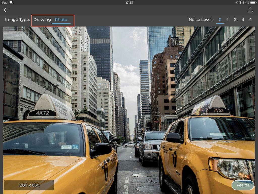 Screenshot highlighting the image type selector in Resize 2x
