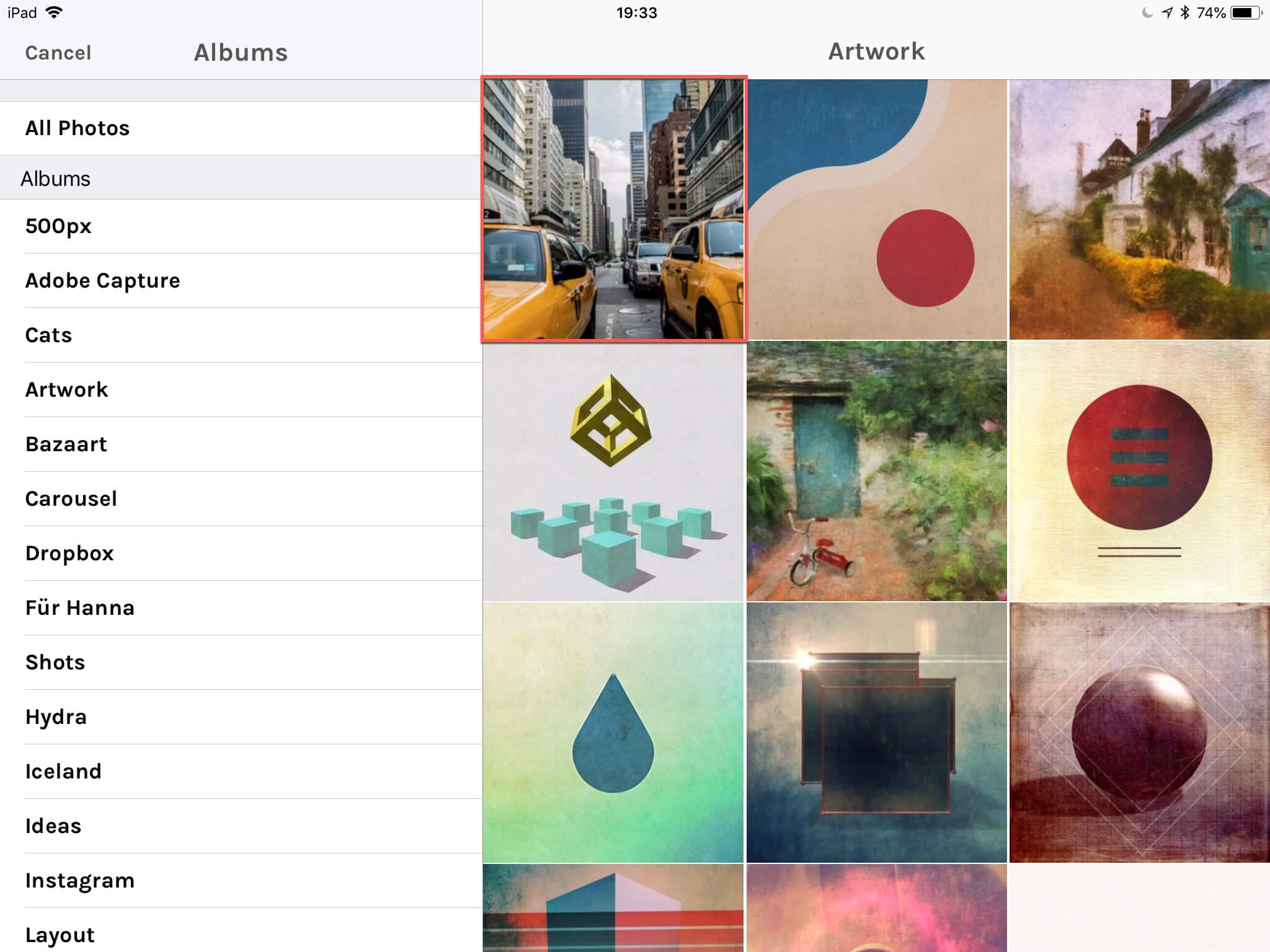 A screenshot of the images selection view in Resize 2x