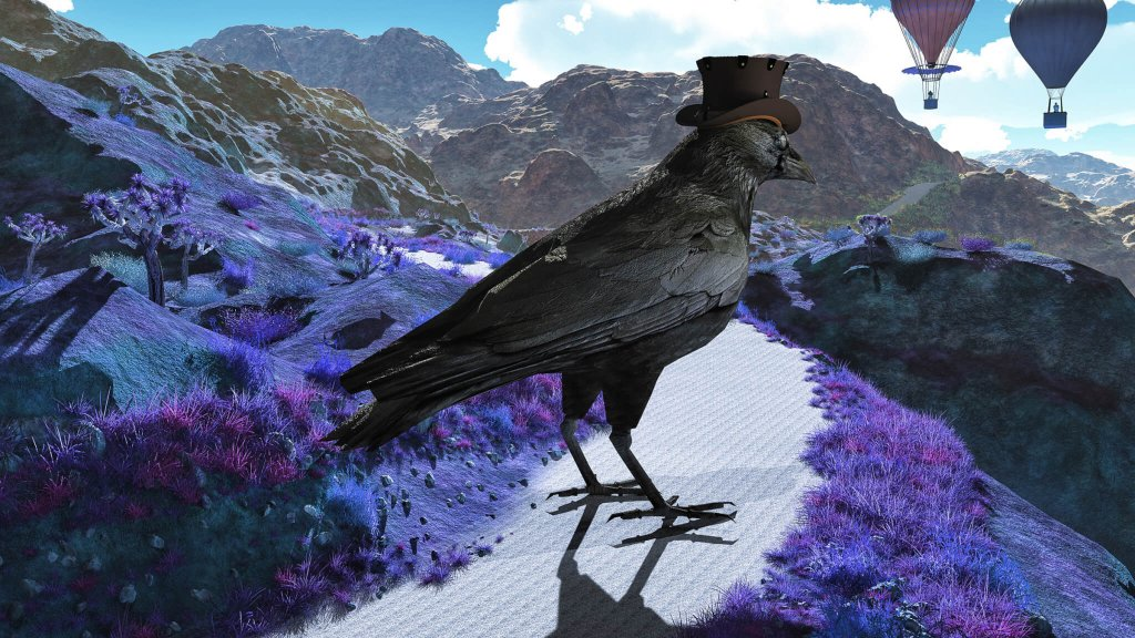 A surreal image of crow in a top hat overlooking balloons across a mountain range by Illusography artist Alan Brown