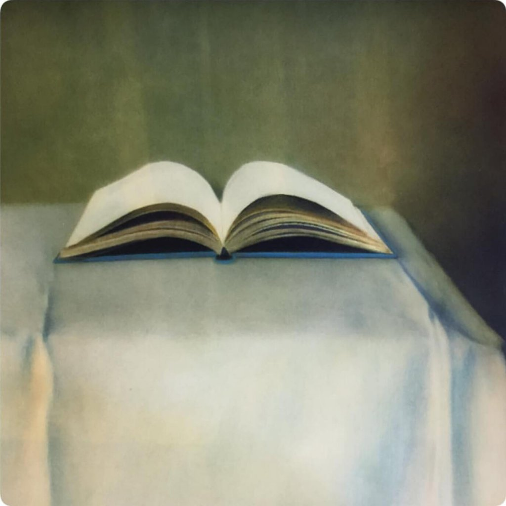 A painterly image of an open book by featured artist, Ollie