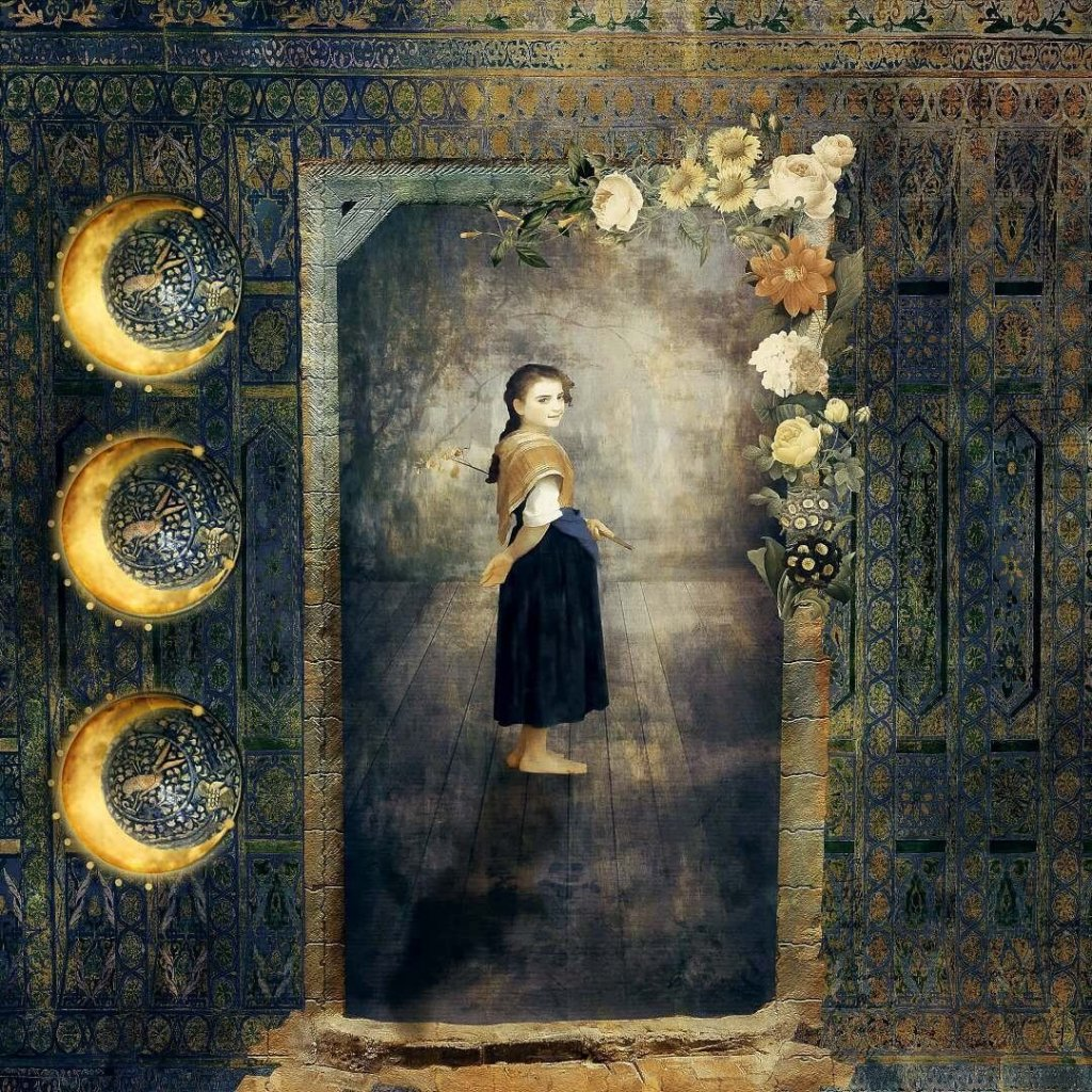A painterly photo-montage of a girl looking back at the viewer through a middle-eastern style doorway by featured artist, Mary Ellen Sanger