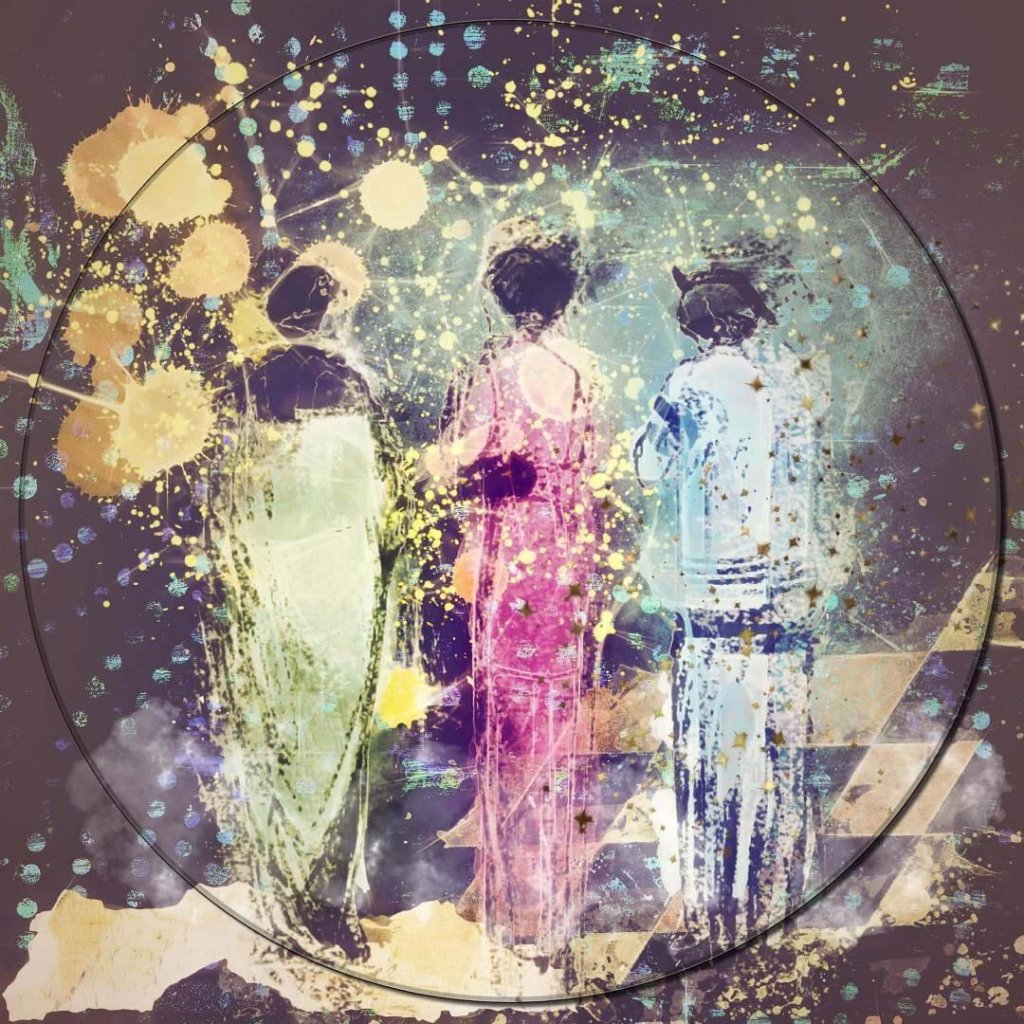 A painterly photo-montage of three women in colourful clothes standing with their backs to the viewer by featured artist, Mary Ellen Sanger