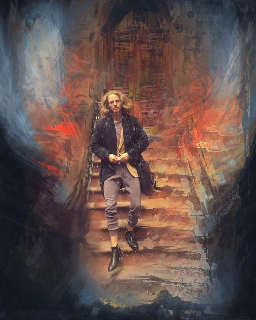A dream-like portrait of a long-haired man descending a stairway by artist Paul J Toussaint