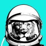 A surreal collage of a lion in an astronaut's helmet by featured artist, SLip