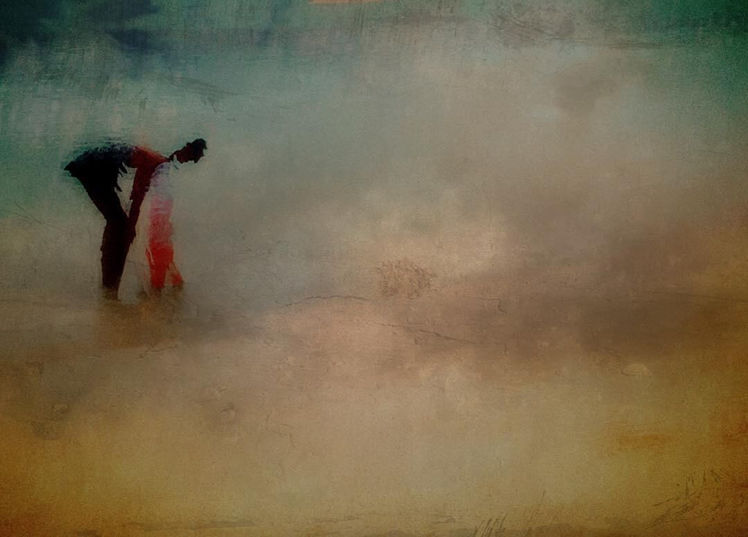 Solitary figures on a hazy expressionistic landscape by artist Amanda Parker