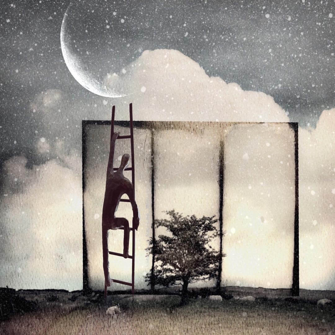 An illustrative image of a figure climbing a ladder to the moon by visual storyteller Eleni Gemeni