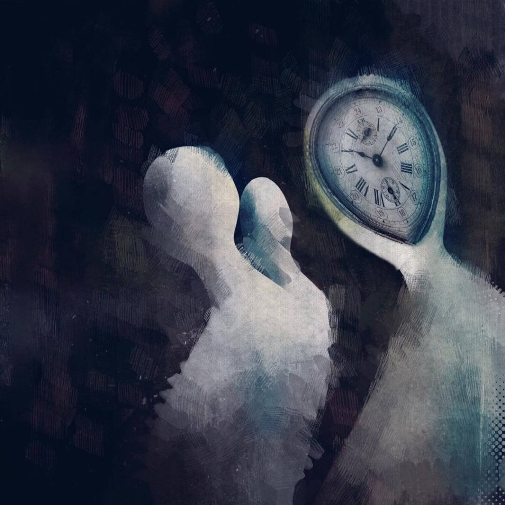 An illustrative image of three amorphous figures, one with a clock for a face by visual storyteller Eleni Gemeni