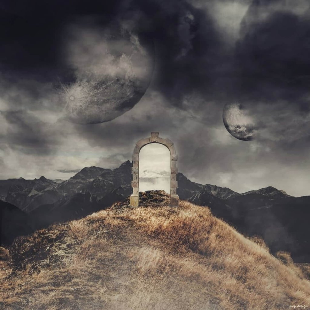 A photo-montage of a magical gateway on top of a mountain by artist Pascal Wagner