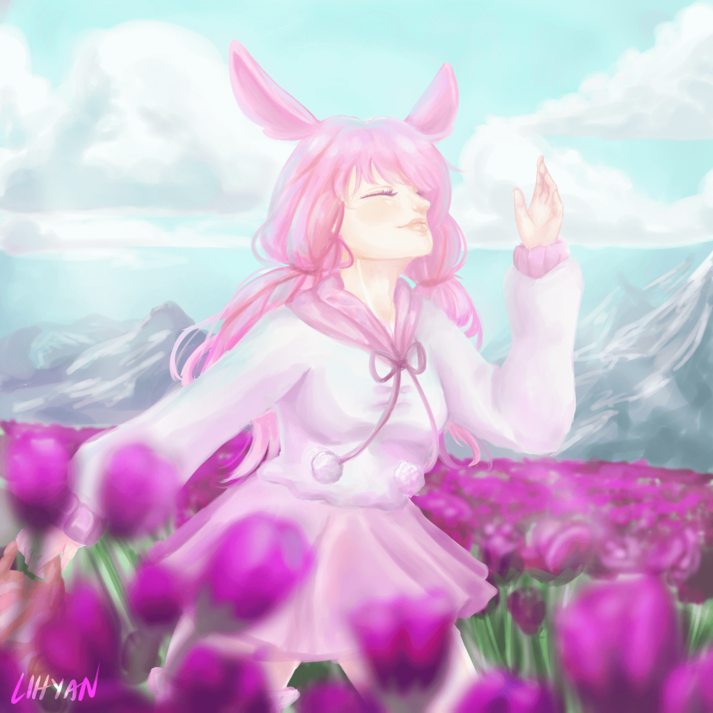 An Anime style image of a girl in pink in a tulip field by Lean Rose Rivera