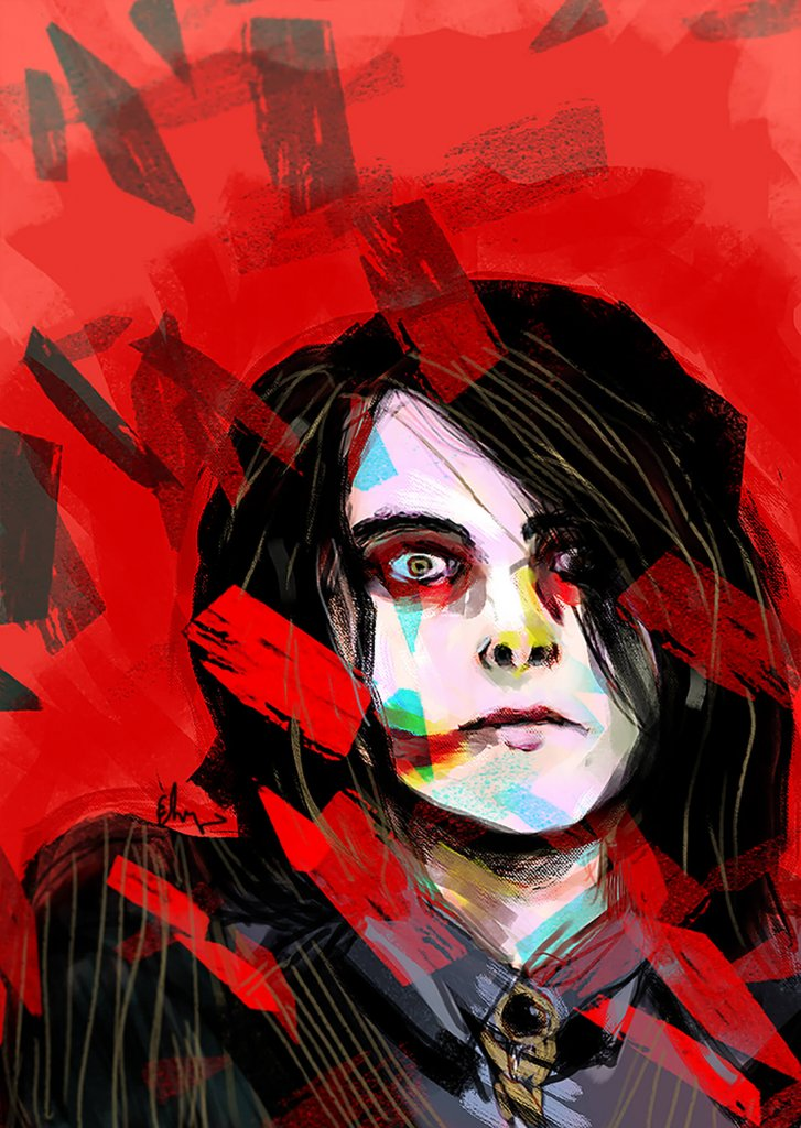 A fan art portrait of Gerard Way by Elizabeth Hinders