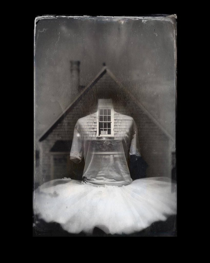 A black and white image of a ballet dress superimposed onto a house; its window almost becoming a face