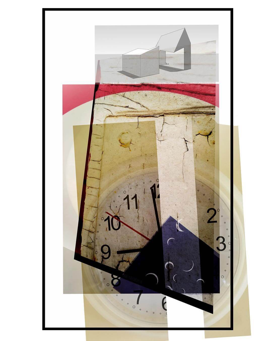 A photo-montage comprising a clock, an abstract piece of architecture and various textures and graphic elements