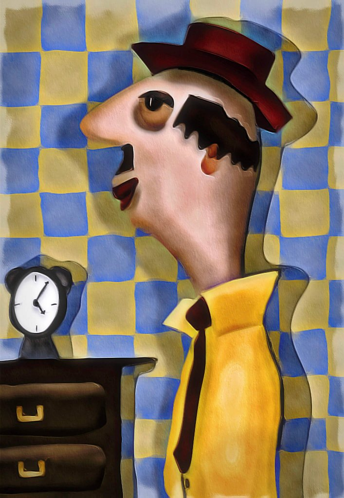 A warped reality painting of a middle-aged man in a yellow shirt wearing a red hat next to an alarm clock by Teresa Lunt