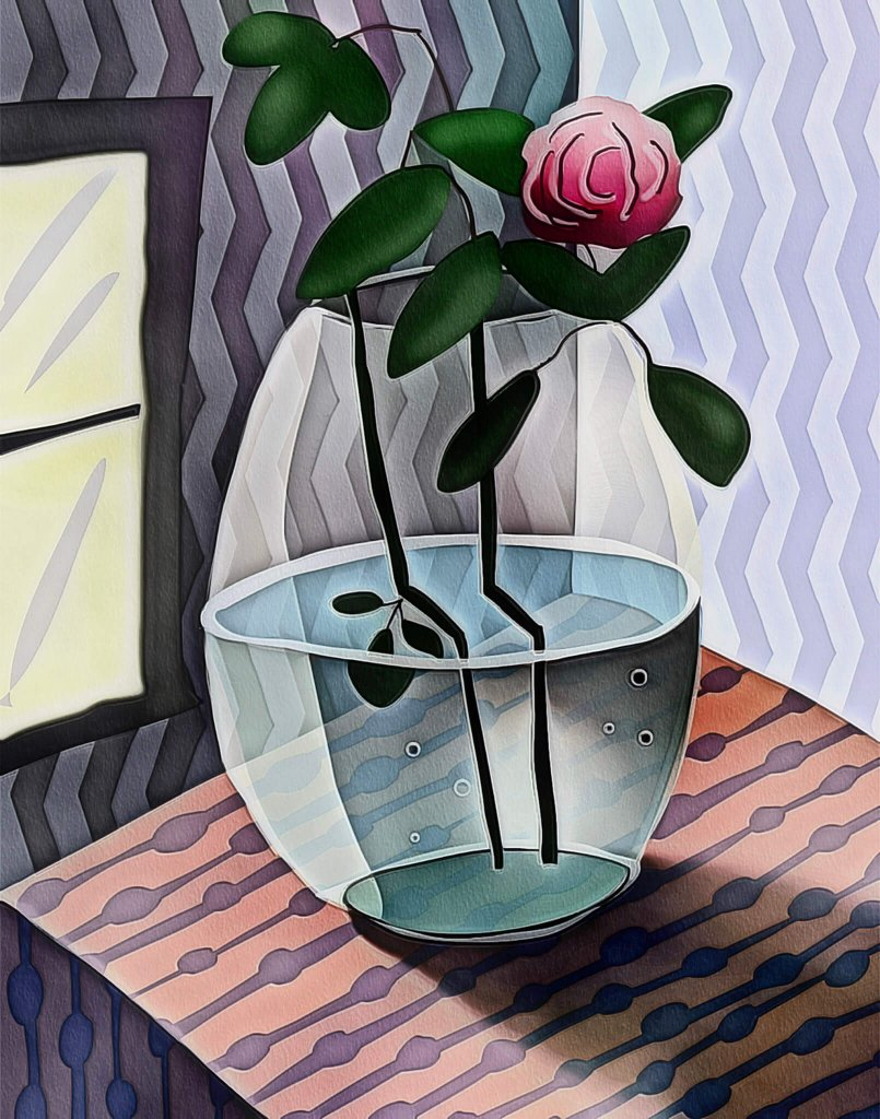 A cubist style warped reality image of a rose in a vase by Teresa Lunt