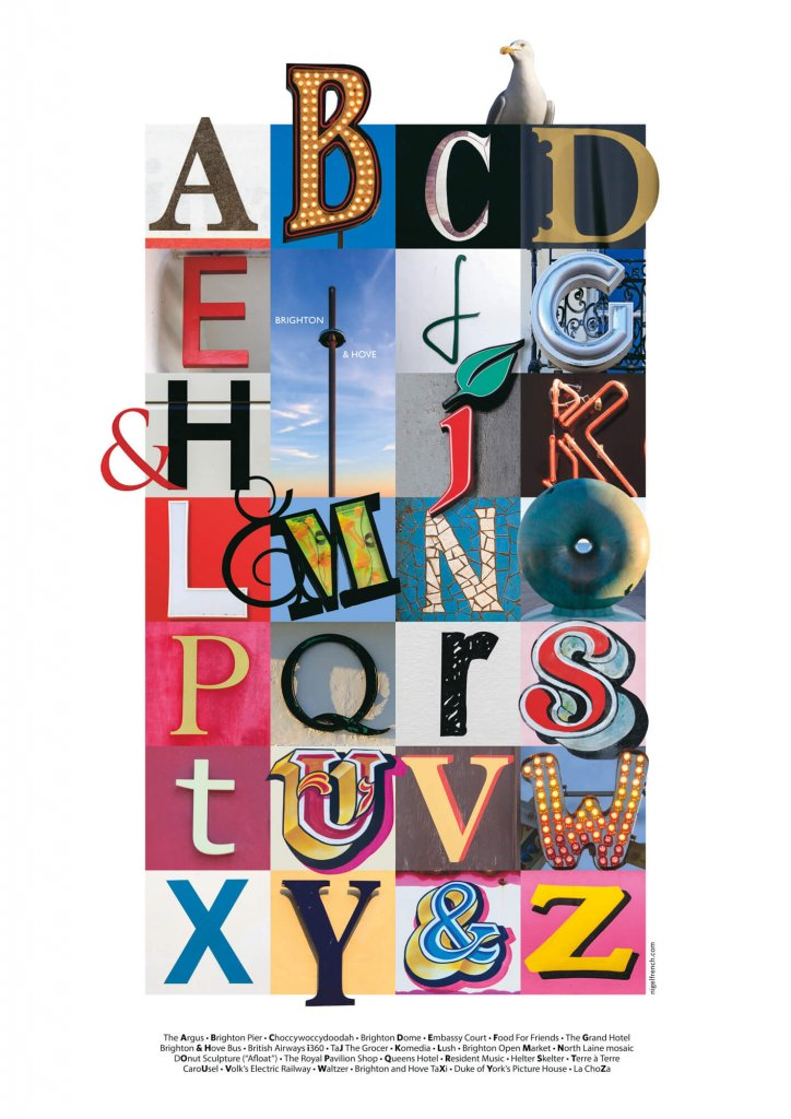 A graphic design image of the alphabet made up of letters abstracted from signs and publications from and relating to Brighton