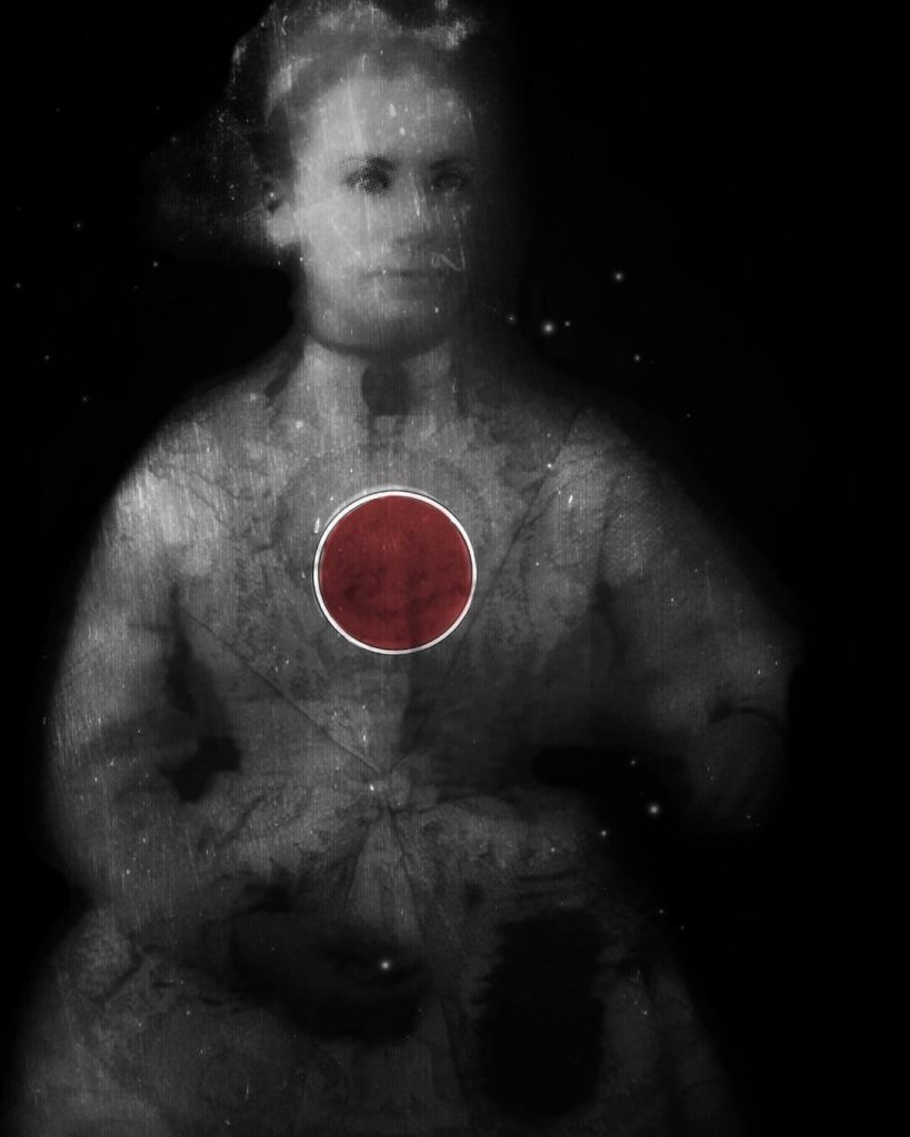 A minimalist portrait of a woman in period costume with a red circle overlaid on her chest