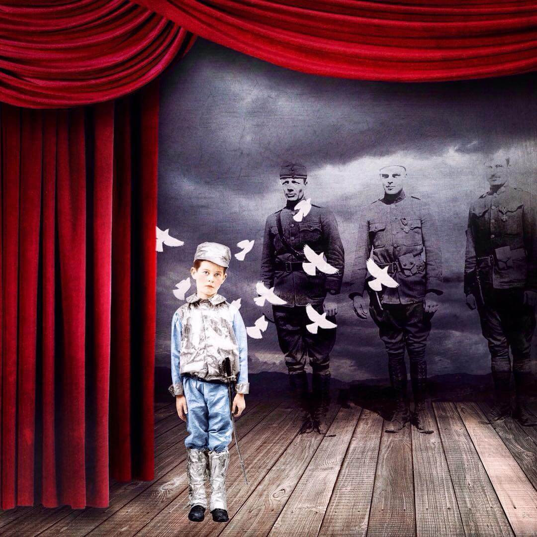 A whimsical image of a boy in uniform on a stage with ghost like soldiers behind him. A small flock of birds ascends around him.