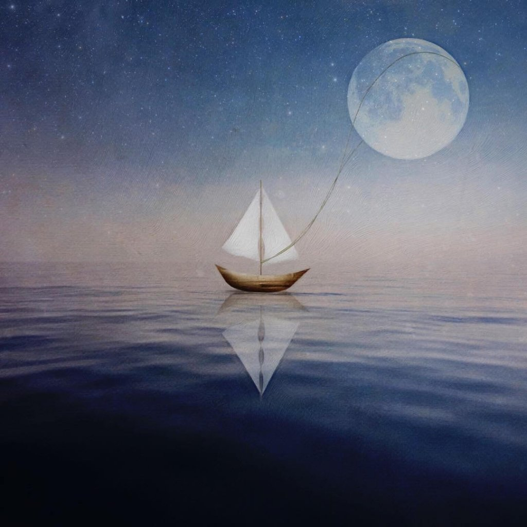 A whimsical image of a toy sailing boat gently towing the moon with a piece of thread.