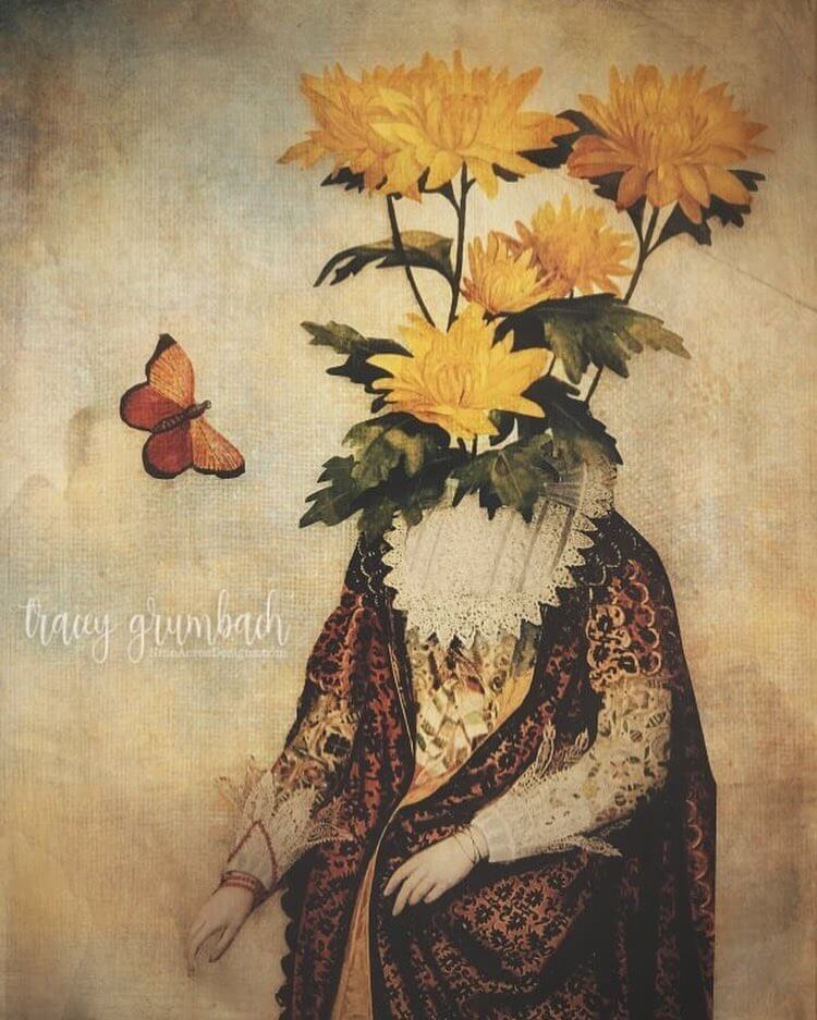A conceptual collage image of a woman in Elizabethan costume, her head replaced by yellow flowers.