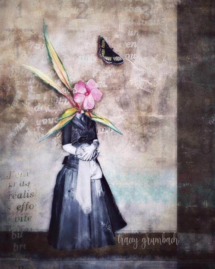 A conceptual collage image of a woman in period costume, her head replaced by a pink flower