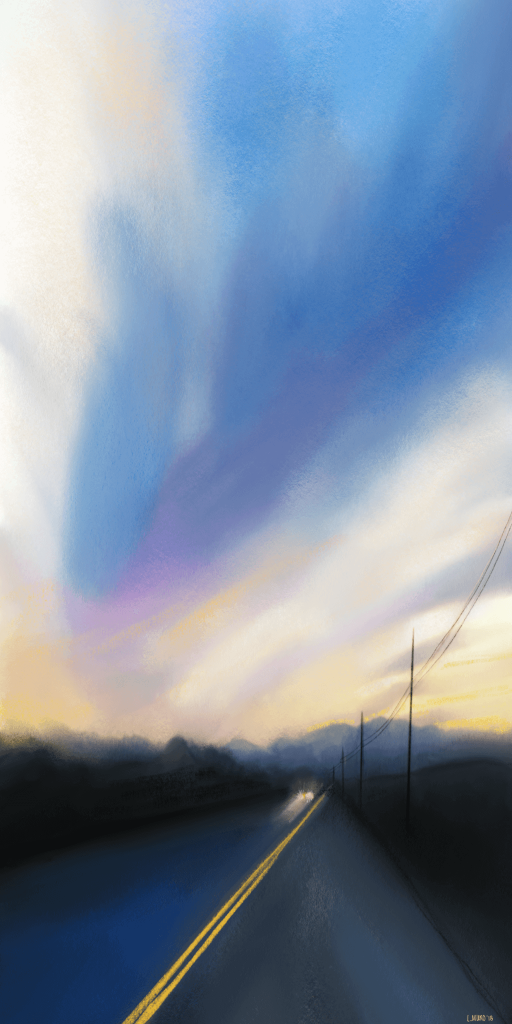 An expressive digital painting of a road at dusk with a single car in the distance