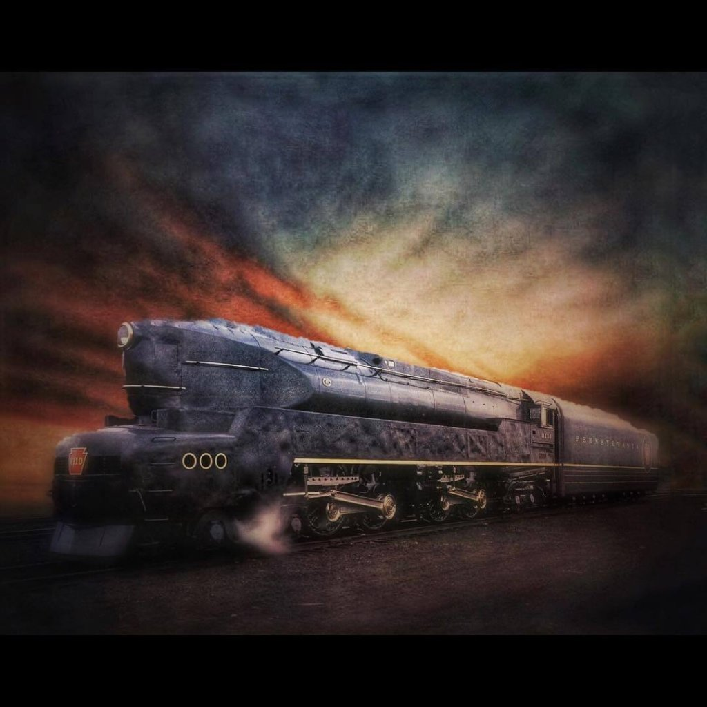 A painterly, expressive image of a train with a multicoloured sky as a background