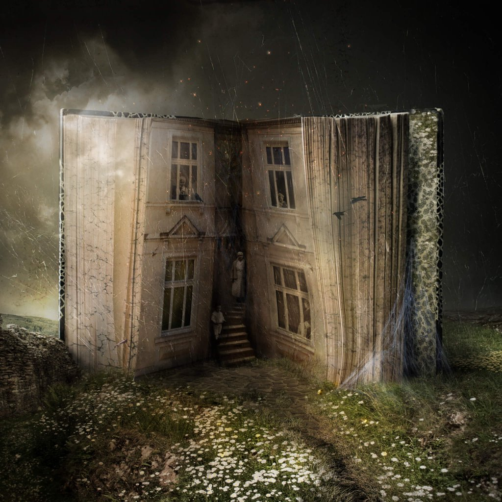 A storybook image of a house made from an old book with people made from vintage photos