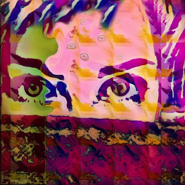 A psychedelic image of a woman's face partially hidden so only the eyes show