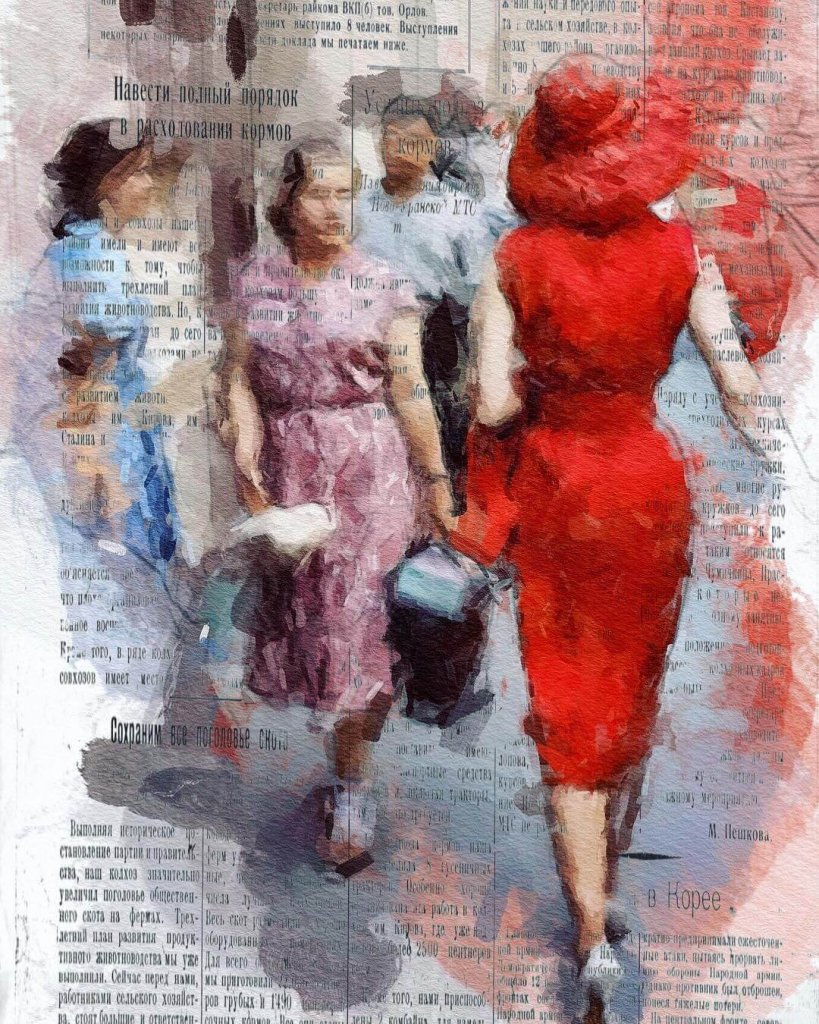 An expressionist photo-painting of a woman in a red dress and hat in the street