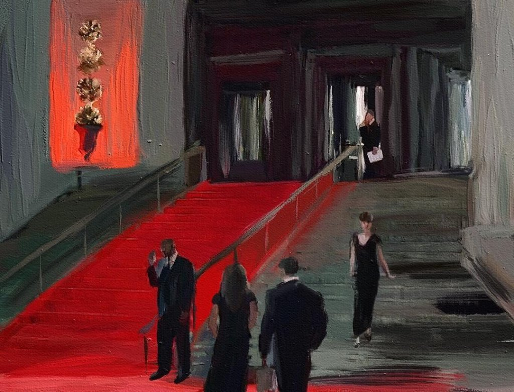 An expressionist photo-painting of a group of people outside a grand building