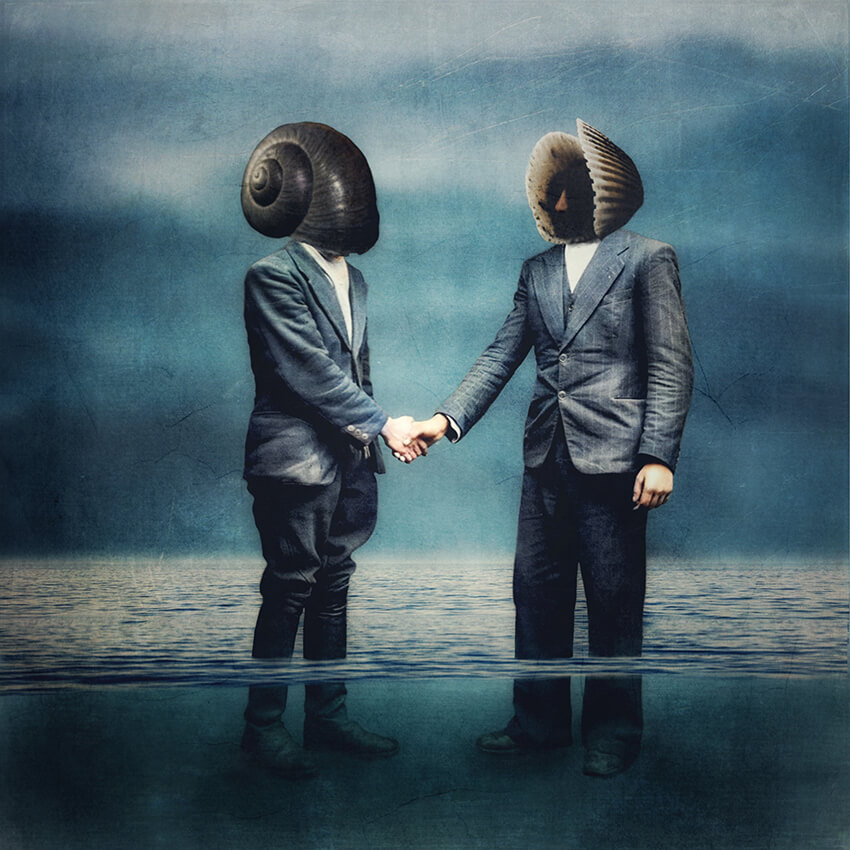 A conceptual storytelling image of two businessmen with seashells for heads, knee deep in water shaking hands