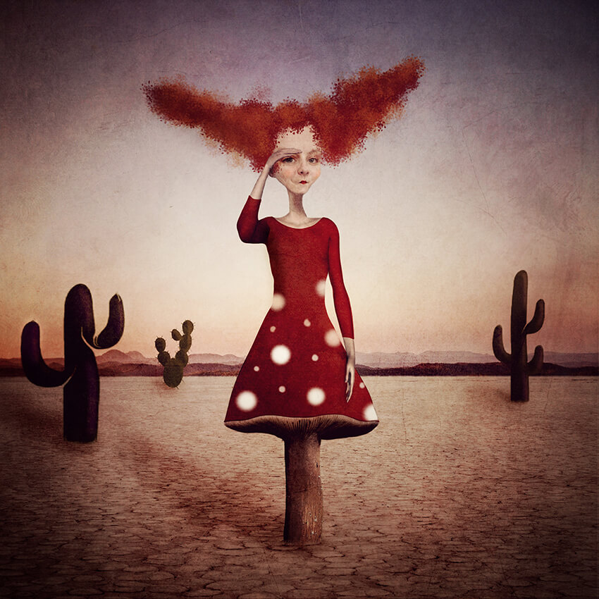 A conceptual storytelling image of a woman in red with red hair in a desert saluting