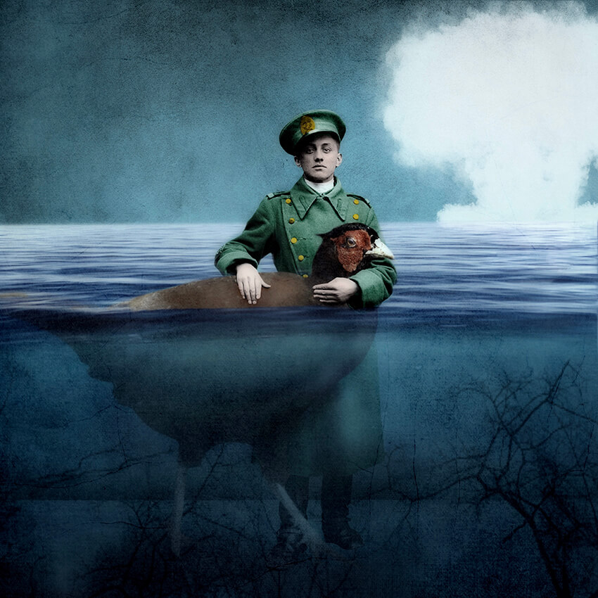 A conceptual storytelling image of a soldier standing waist deep in water holding a giant pheasant