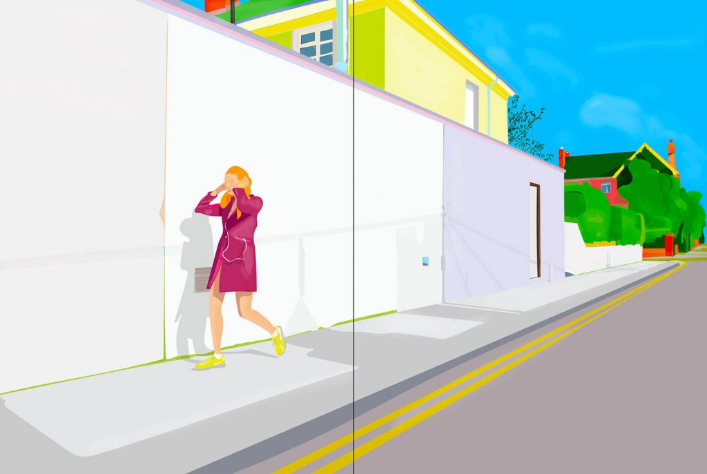 A digital painting of a woman listening to music as she walks down a street