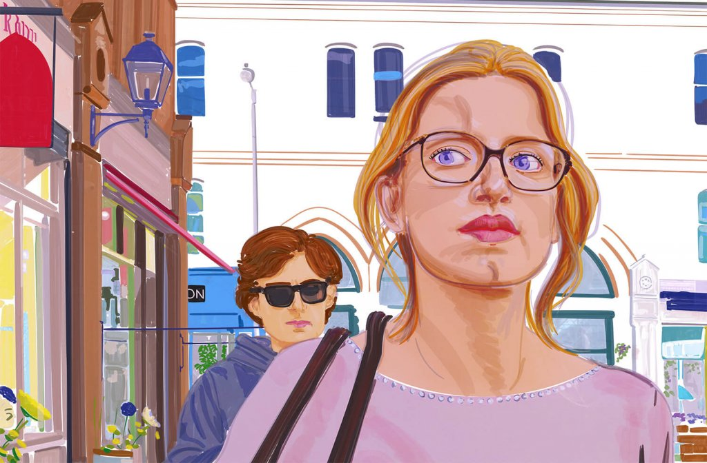 A digital painting of a blonde woman in glasses in the street