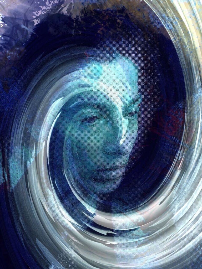 A self-reflective image of a woman in contemplation with swirling waves emanating