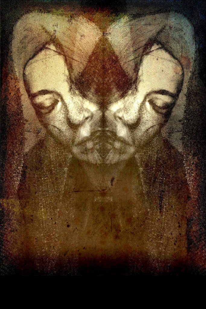 A self-reflective image of a woman's face mirrored and angled to portray a split in thoughts