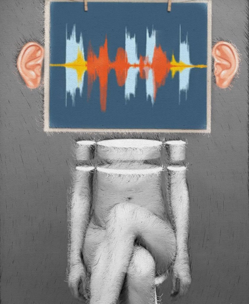 An image of a sculpture-like figure, seated with crossed legs. An picture of an audio waveform sits above the figure between two human ears