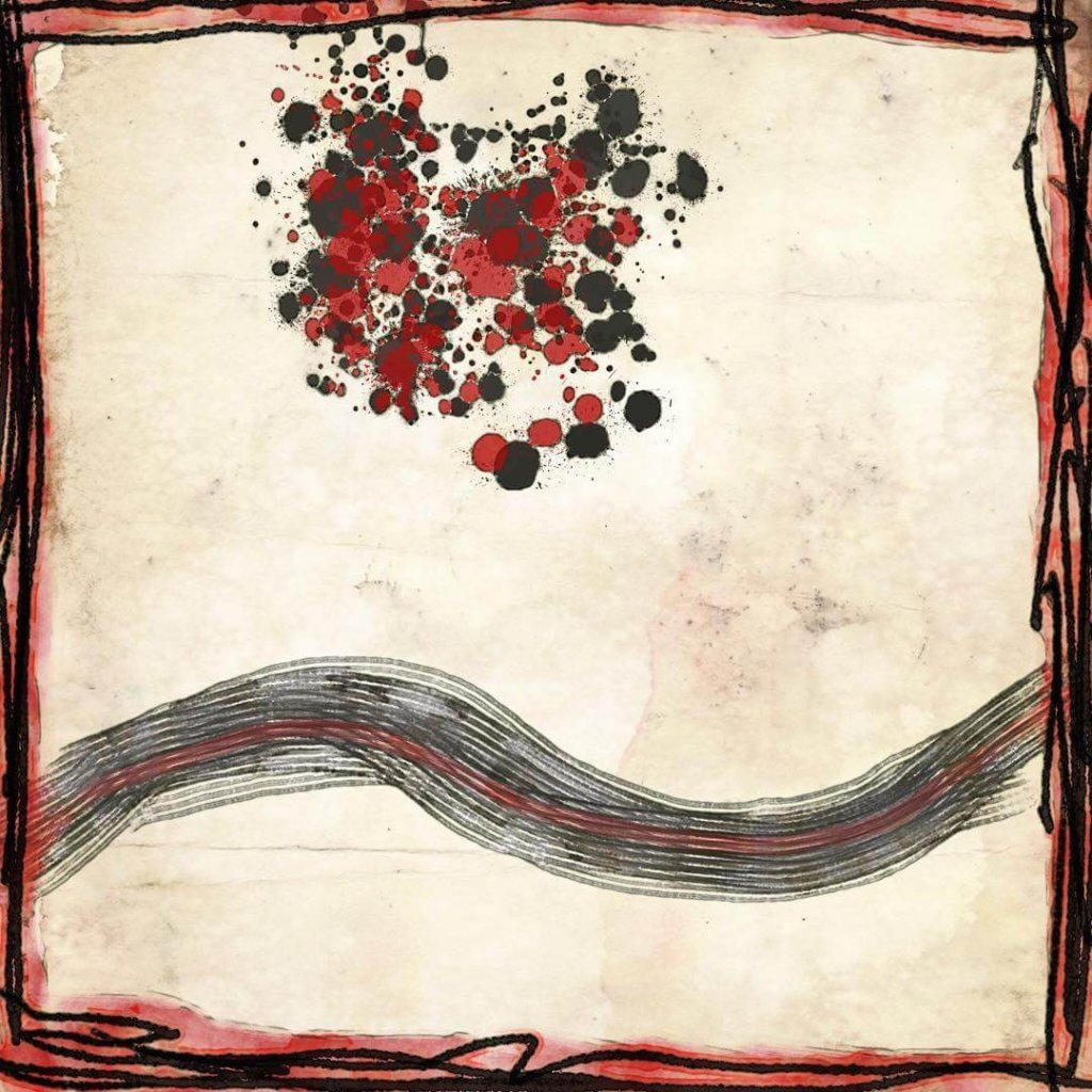 An energetic abstract featuring a spatter of red and grey dots above a wavy line, framed in red and black