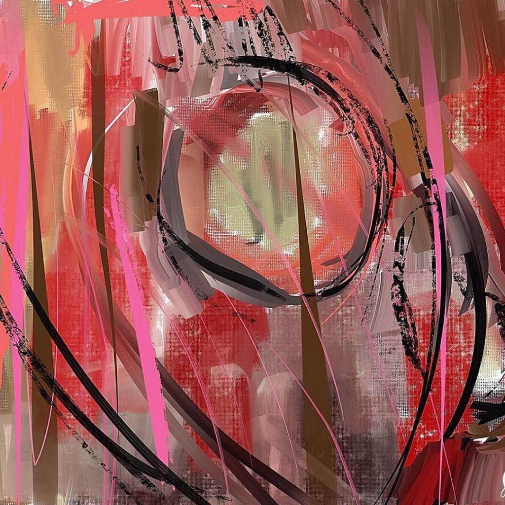 An energetic abstract of red and black brush strokes