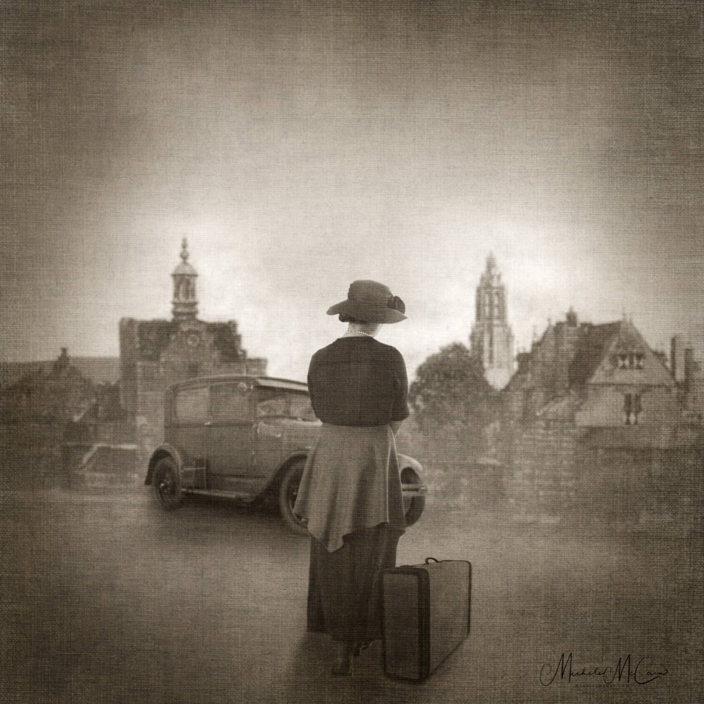 A photographic storytelling image of a woman with a suitcase standing waiting for someone