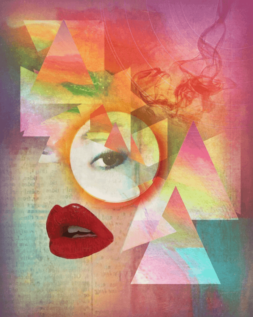 An emotive abstract of a woman's lips and eye over a background psychedelic shapes and colours