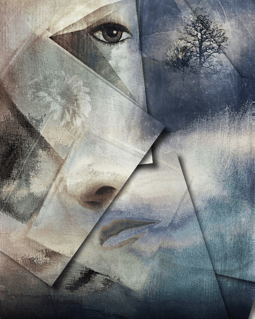 An emotive abstract of a woman's face split into pieces