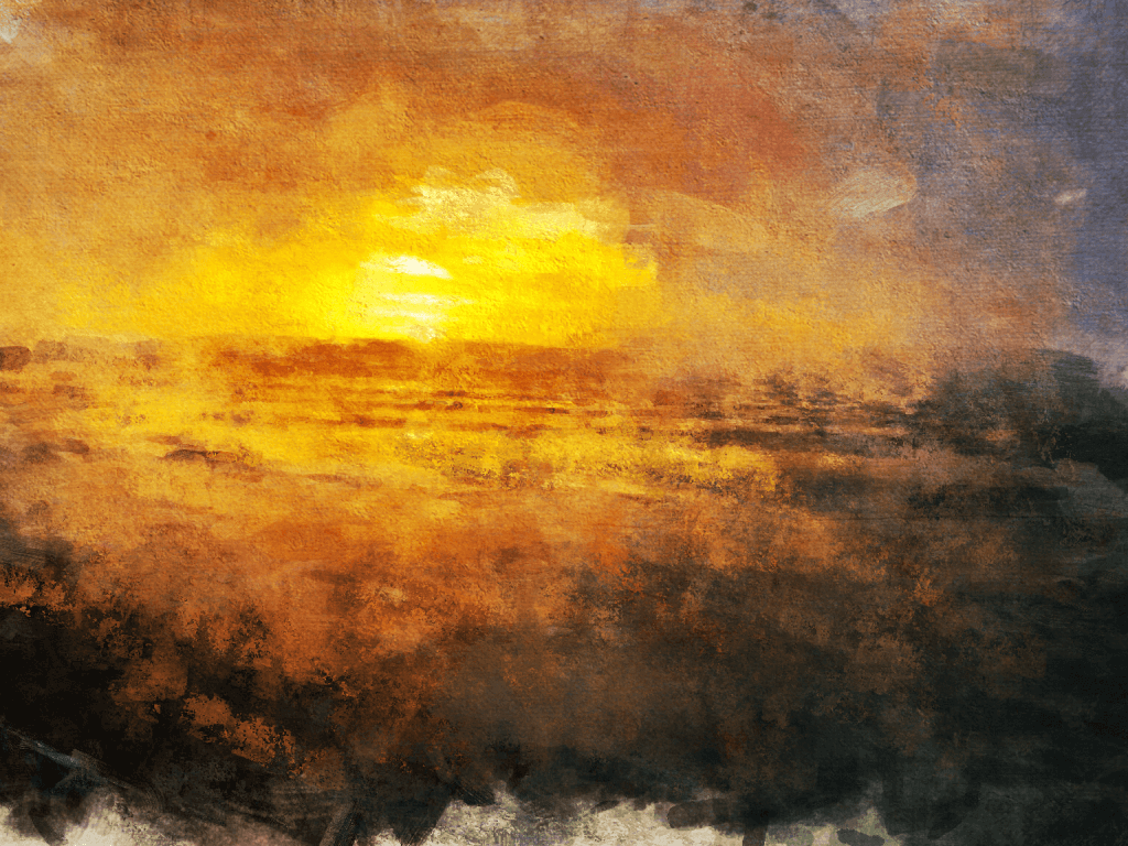 A painterly abstract of a sunrise over hills